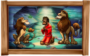Framed Biblical Scene: Daniel in Lion's Den (Choice of Frame)