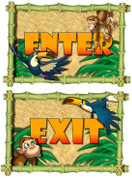 Jungle Themed Enter and Exit Signs