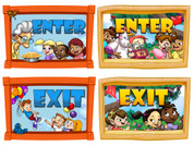 Neighborhood Themed Enter and Exit Signs