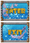 Undersea Themed Enter and Exit Signs