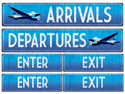 Travel Themed Enter and Exit Signs