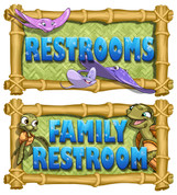 Beach Themed Restroom Door Signs Peel-n-Stick Pack #3