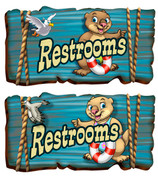 Boardwalk Themed Restroom Door Signs Peel-n-Stick Pack #3