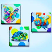 Polka Dots and Calico Animals Stretched Canvas Set #1