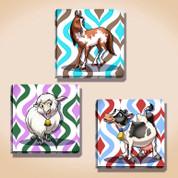 Retro Farm Animals Stretched Canvas Set