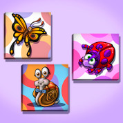 Circles and Bugs Stretched Canvas Set