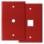 Red Telephone & TV Cable Jack Cover Plates