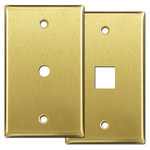 Satin Brass Phone & Cable Jack Cover Plates