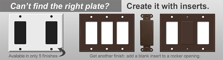 3 Gang Wall Plates - Create with Inserts