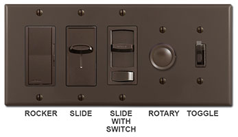Brown Dimmer Switches - Rocker, slide, rotary, toggle