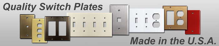 Outlet covers and switch plates in various sizes and finishes