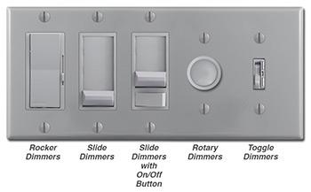 Gray Dimmers - Rocker, slide, rotary