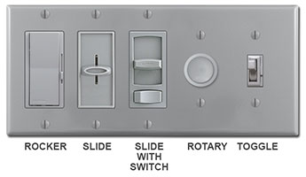 Gray Dimmers - Rocker, slide, rotary