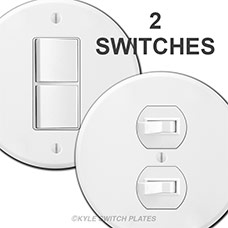 Two Stacked Switches in Round Wall or Ceiling Cover Plate