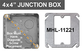 4x4 Square Juntion Box Mud Ring for Mounting Middle Device
