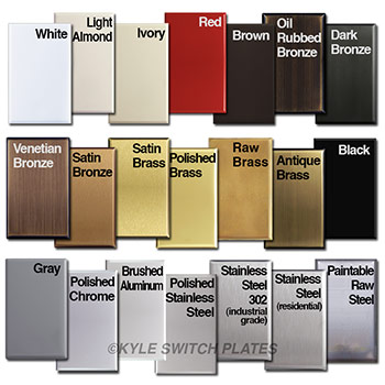 Light switch plate metal finishes