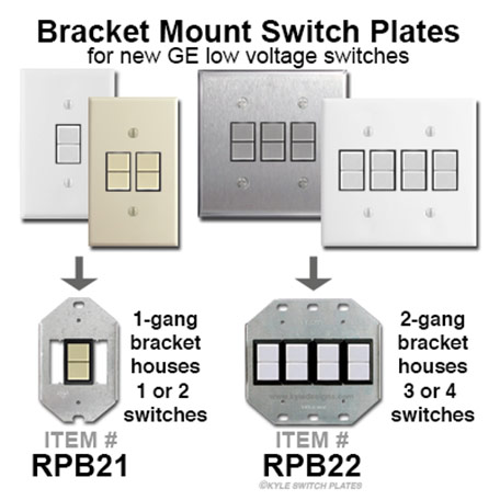 GE Low Voltage Light Switches & Bracket Mount Wall Plates