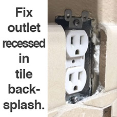 Outlet Recessed in Tile Backsplash
