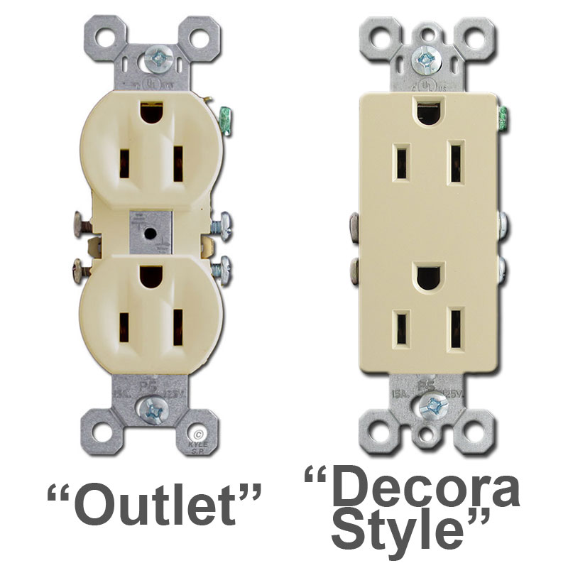 Duplex outlet vs. Decora block outlet comparison