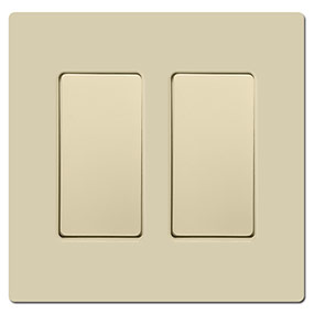 Ivory Screwless Light Switch Covers - Blank Rocker Inserts