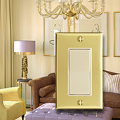 Ivory Light Switches with Polished Brass Plates