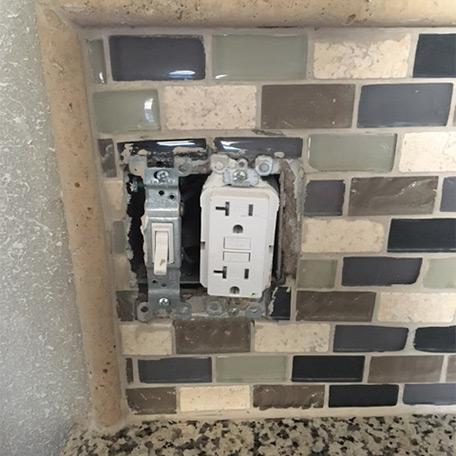 No Room for Switch Plate on Tile Backsplash