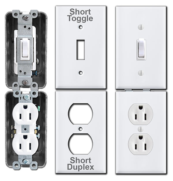 Short Switch Plates for Stacked Electrical Boxes