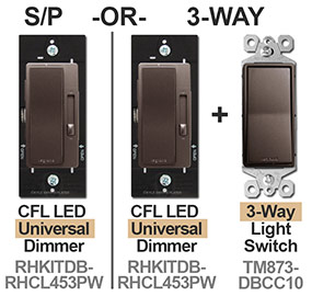 Single Pole or 3-Way Dimmers Dark Bronze
