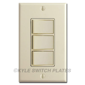 Triple Stacked Rocker Light Switches in 1 Gang