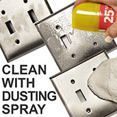 Dusting Spray Cleans Metal Switch Plates
