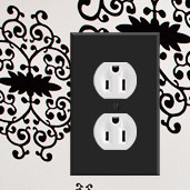 White Outlets with Black Covers
