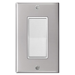 White & Polished Stainless Steel Switch Plate