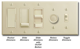 Ivory Dimmers - Rocker, slide, toggle, rotary