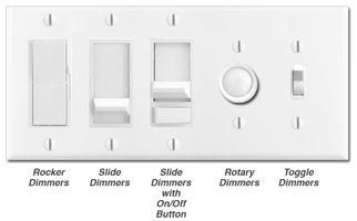 White Dimmers - Rocker, slide, toggle, rotary