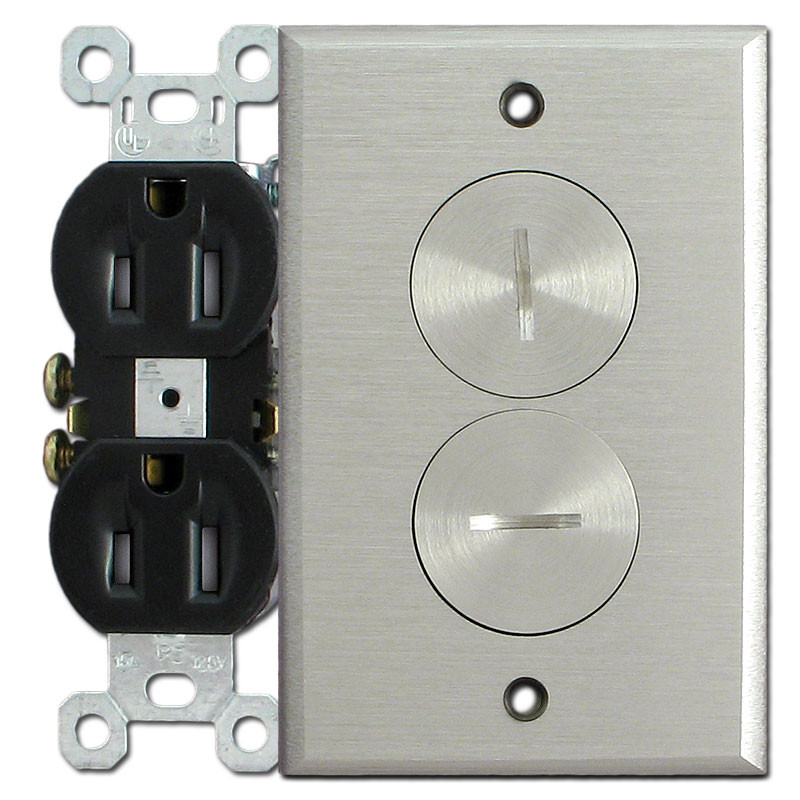 Floor Mounted Tamper Resistant Electrical Outlet   Nickel Cover Plate