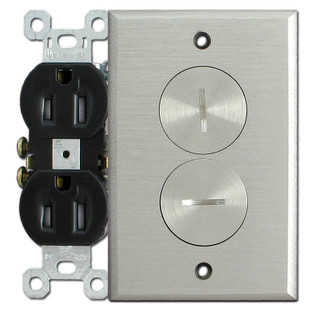 Floor Mounted Tamper-Resistant Electrical Outlet - Nickel Cover Plate