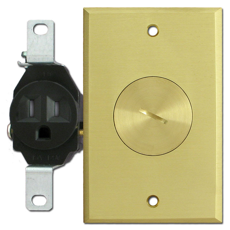 Floor Mounted Tamper Resistant Single Outlets With Brass Cover Plate