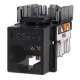 Hubbell Black Modular CAT5E Ethernet Jack for Frame