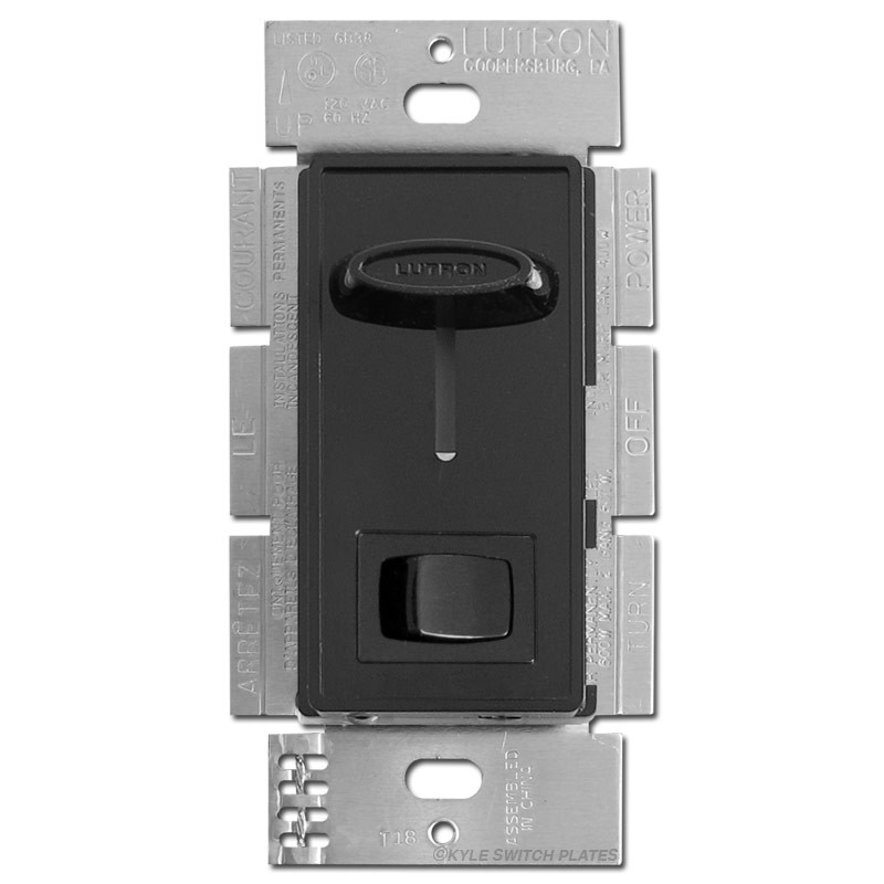 Black 600W 3 Way Slide Dimmer Switches With On Off Button