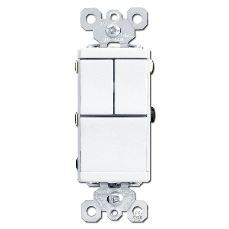White 3 Stacked Switch Single Pole Rockers