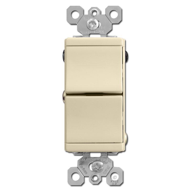 ivory combo single pole 3 way double rocker switchDouble Single Pole Stack Toggle Light Switch Ivory #8