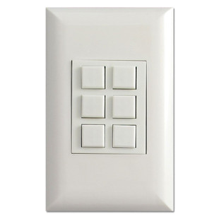 White Touch Plate Classic 6-Button Low Voltage Control