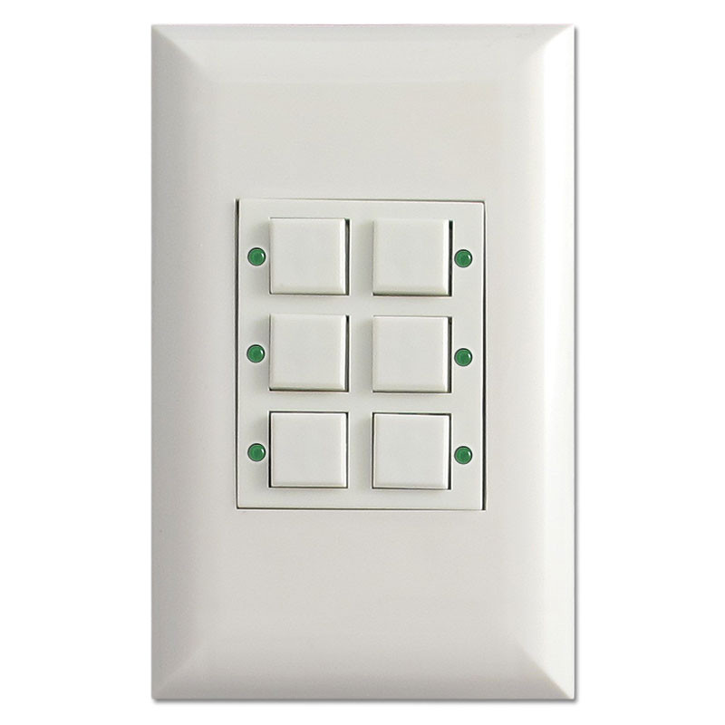 Low Volt Touchplate LED Classic 6 Button Pilot Light Switch White