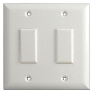 White Two Button Touch-Plate Genesis Low Voltage Switch Plate