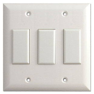White Low Voltage Touch Plate Genesis 3 Button Light Switches