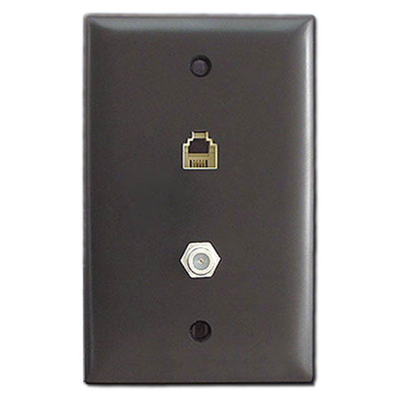 Brown Phone And Coax Cable Jack Switch Plate