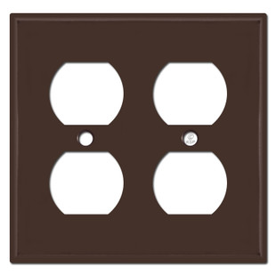 Two Gang Duplex Outlet Switch Plates - Brown