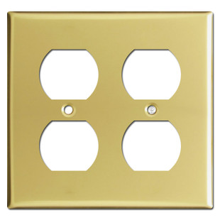 2 Gang Double Outlet Cover Plate -  Polished Brass