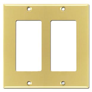Two Rocker Wall Switch Plate - Polished Brass