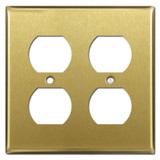 2 Gang Duplex Outlet Switch Plate Covers - Satin Brass